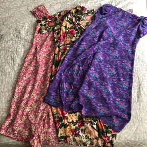 Bundle three vintage dresses floral sz S M EUC